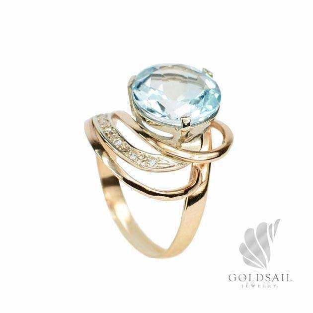 Золотое кольцо с топазом цена